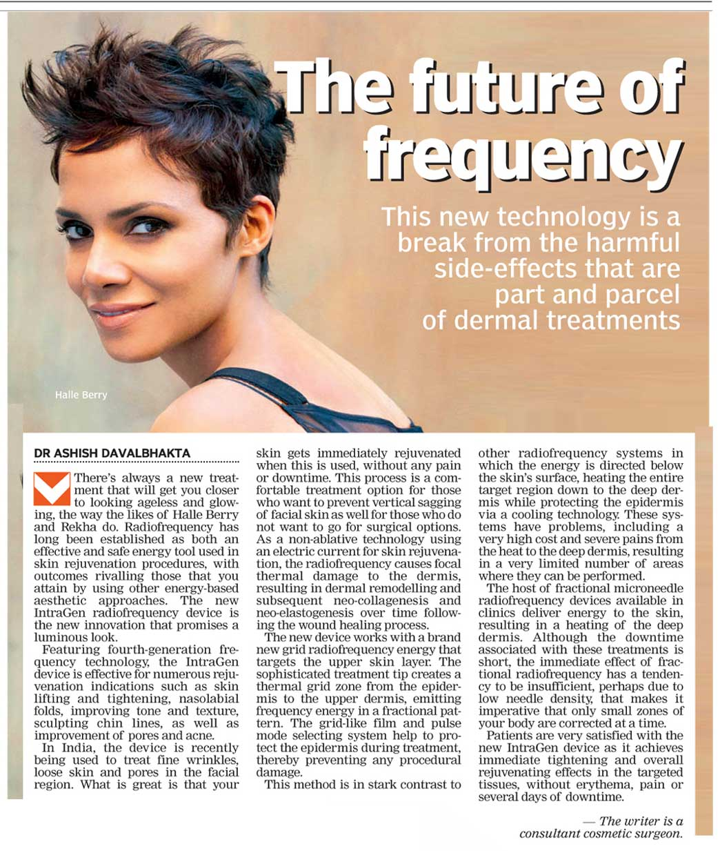 Intragen- Best Laser for Skin Tightening – Dr.Ashish Davalbhakta's article -The Asian Age – 22nd Sep 2015..